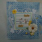 Открытки ручной работы. Ярмарка Мастеров - ручная работа открытка-фоторамка для мальчика на рождение. Handmade.
