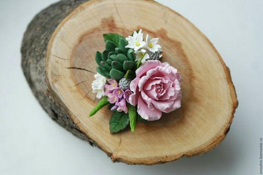 """Заколки ручной работы. Ярмарка Мастеров - ручная работа. Купить Зажим """"Весенний"""". Handmade. Бледно-розовый, весенний, зажим с цветами"""