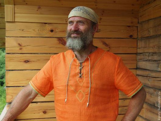 """Для мужчин, ручной работы. Ярмарка Мастеров - ручная работа. Купить Рубаха льняная """"Луч солнца"""". Handmade. Оранжевый"""