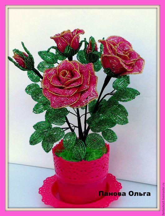 Цветы ручной работы. Ярмарка Мастеров - ручная работа. Купить Букет роз.. Handmade. Комбинированный, подарок женщине, бисер