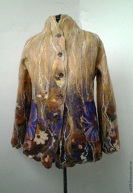 """Верхняя одежда ручной работы. Ярмарка Мастеров - ручная работа. Купить Валяное пальто """"Осенний сад"""". Handmade. Цветочный"""