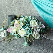 Съедобные букеты ручной работы. Ярмарка Мастеров - ручная работа Интерьерный букет «Белоснежка», белые орхидеи, бело-голубой букет. Handmade.