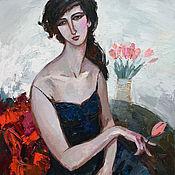 """Картины и панно handmade. Livemaster - original item """"Портрет с розовыми тюльпанами"""". ( вдохновение Модильяни. Handmade."""