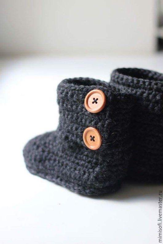 Обувь ручной работы. Ярмарка Мастеров - ручная работа. Купить Вязаные сапожки для малыша. Handmade. Золотой, вязаная обувь