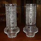 Винтаж handmade. Livemaster - original item Two crystal flower vases, diamond cutting, Czechoslovakia. Handmade.