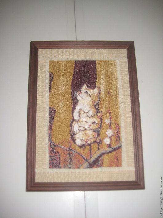 """Животные ручной работы. Ярмарка Мастеров - ручная работа. Купить Вышитая картина """" Котята"""". Handmade. Комбинированный, коты, для детской"""