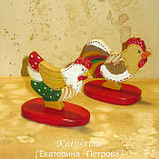 Подарки к праздникам handmade. Livemaster - original item cockerel and a hen. Couple.Mini.. Handmade.