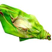 """Аксессуары ручной работы. Ярмарка Мастеров - ручная работа Батик платок """"Яркая весна. Крокусы"""". Handmade."""