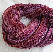 Аксессуары ручной работы. Ярмарка Мастеров - ручная работа Длинный вязаный тёплый шарф меланжевый бордовый. Handmade.