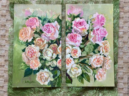 Елена Шведова. Модульная Картина маслом `Нежные розочки`35х20 (каждая часть)