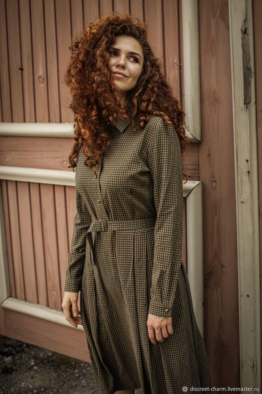 Платье рубашка в клетку с пышной юбкой в стиле милитари, Платья, Томск, Фото №1