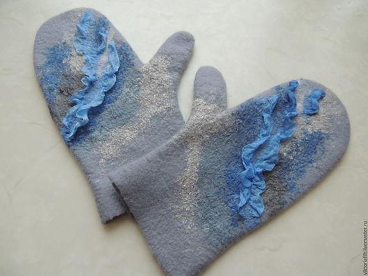 Варежки, митенки, перчатки ручной работы. Ярмарка Мастеров - ручная работа. Купить Варежки женские валяные. Handmade. Серый, шерсть