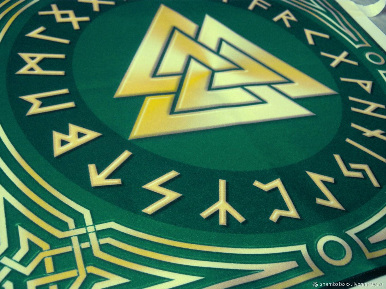 Will VALKNUT in the circle Futhark (green), runic cloth,, Runes, Asha,  Фото №1