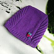 Работы для детей, ручной работы. Ярмарка Мастеров - ручная работа Шапка-совенок фиолетовая. Handmade.