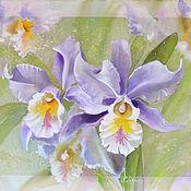 Картины и панно ручной работы. Ярмарка Мастеров - ручная работа Трехслойная картина на шелке Орхидеи. Handmade.