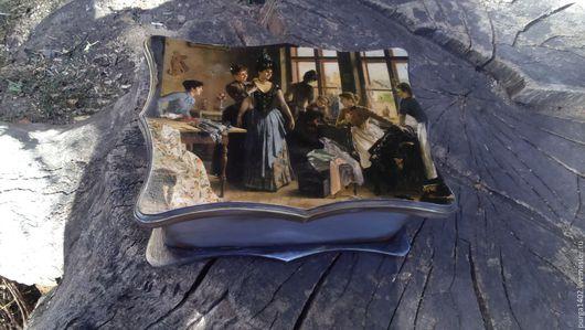 """Корзины, коробы ручной работы. Ярмарка Мастеров - ручная работа. Купить Шкатулка для рукоделия, короб для чая, винтаж """"Приятные хлопоты"""". Handmade."""