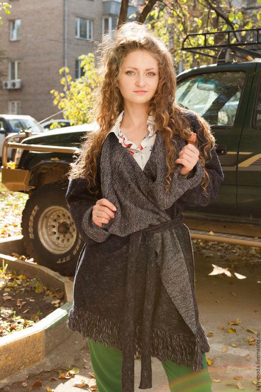 Верхняя одежда ручной работы. Ярмарка Мастеров - ручная работа. Купить Легкое пальто накидка с бахромой - темно-синий. Handmade.