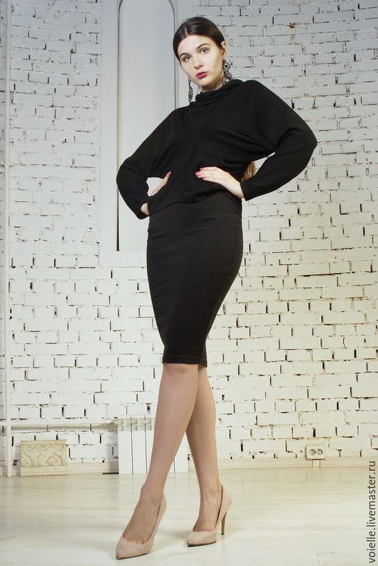 юбка, трикотажная юбка, юбка ниже колена, юбка черная, юбка карандаш, юбка карандаш фото, с чем носить юбку карандаш, юбки с талией карандаш, юбка карандаш купить, черная юбка карандаш