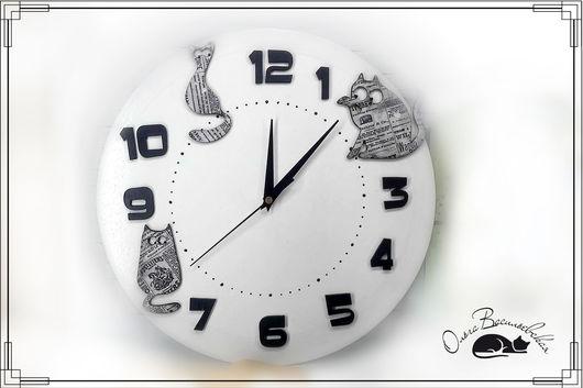 """Часы для дома ручной работы. Ярмарка Мастеров - ручная работа. Купить Часы настенные  """"Коточасы"""" белые. Handmade. Часы настенные"""