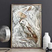 Картины и панно handmade. Livemaster - original item Girl and owl, painting with an owl, portrait of a girl, fantasy painting.. Handmade.