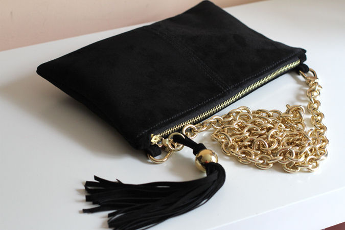 Handbags handmade. Livemaster - handmade. Buy Clutch bag made from black suede with a brush on the chain of art. S125R61.