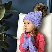 Шапки ручной работы. Ярмарка Мастеров - ручная работа Комплект вязаный детский шапка с помпоном/варежки Y-Z KNITS. Handmade.