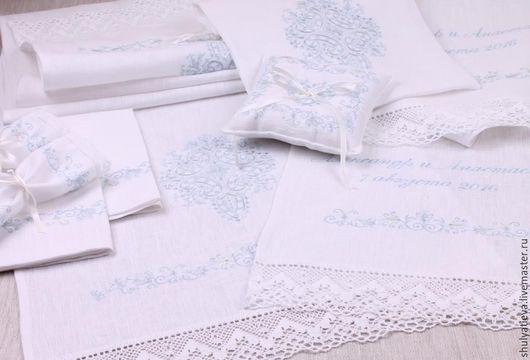 Свадебные аксессуары ручной работы. Ярмарка Мастеров - ручная работа. Купить Венчальный набор Благословение в молочно-голубой гамме, 8 предметов. Handmade.