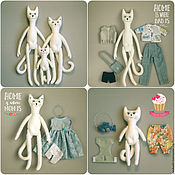 Куклы и игрушки ручной работы. Ярмарка Мастеров - ручная работа Кот, Кошечка и Котёнок - котосемья. Handmade.
