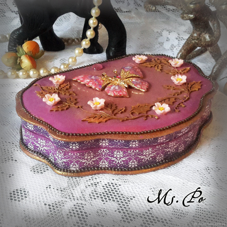 Trinket Boxes handmade. Livemaster - handmade. Buy Box 'Purple fantasy'.Gift, gift girl, a wedding gift, fiberboard