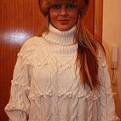 """Одежда ручной работы. Ярмарка Мастеров - ручная работа Шерстяной вязаный свитер """"Белые косы"""". Handmade."""