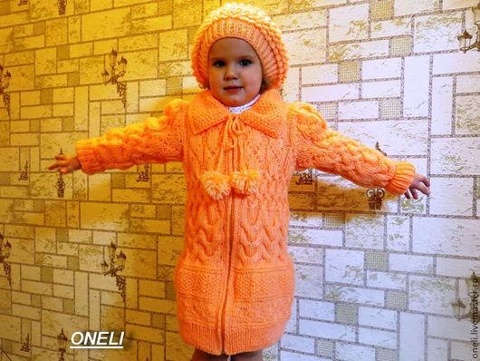 Одежда для девочек, ручной работы. Ярмарка Мастеров - ручная работа. Купить Вязаное пальто и берет для девочки. Handmade. Оранжевый