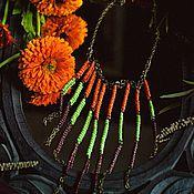 """Украшения ручной работы. Ярмарка Мастеров - ручная работа Украшение из цепей и биссера """"Этно-Каскад"""". Handmade."""