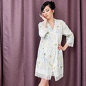 Одежда handmade. Livemaster - original item Bathrobes: Kimono robe with lace SPRING. Handmade.