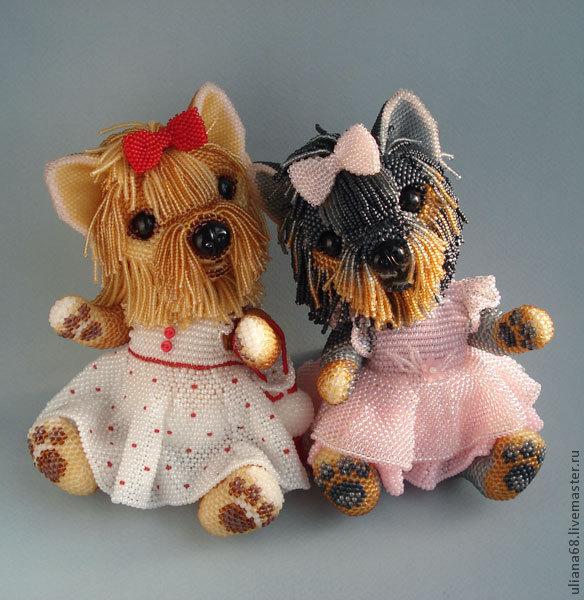 Игрушки собаки из бисера