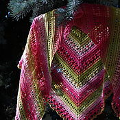 Аксессуары handmade. Livemaster - original item Warm fishnet shawl with tassels 100% wool