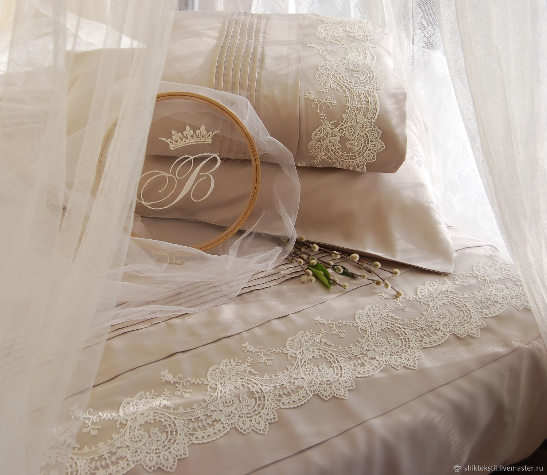 Подарок Шелковое постельное белье с кружевом. Цвет жемчужный какао, Подарки, Самара,  Фото №1