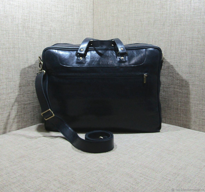 22dc8ed5b83f Купить Мужская кожаная деловая сумка Мужские сумки ручной работы. Мужская  кожаная деловая сумка ГАНИМЕД maxi черный хром. TAIS.
