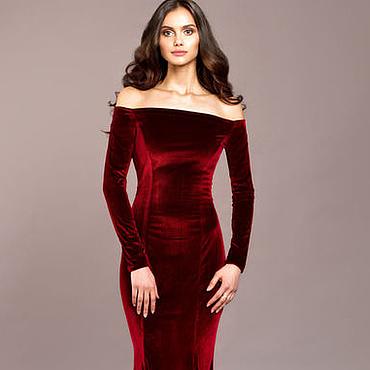 Одежда ручной работы. Ярмарка Мастеров - ручная работа Длинное бархатное вечернее платье в пол. Красное платье из бархата. Handmade.