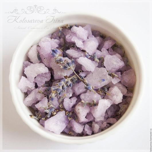 Соль для ванны ручной работы. Ярмарка Мастеров - ручная работа. Купить Соль для ванны успокаивающая расслабляющая с маслом лаванды. Handmade.