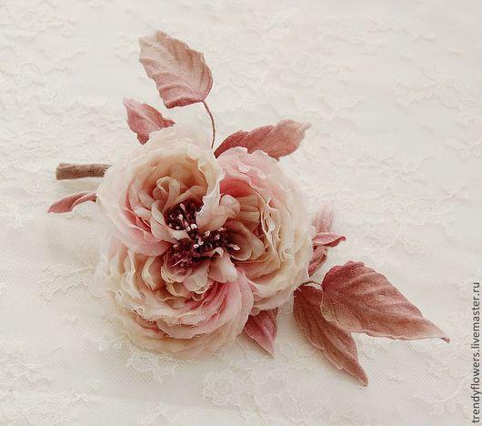 Староанглийская роза. Цветы из шелка