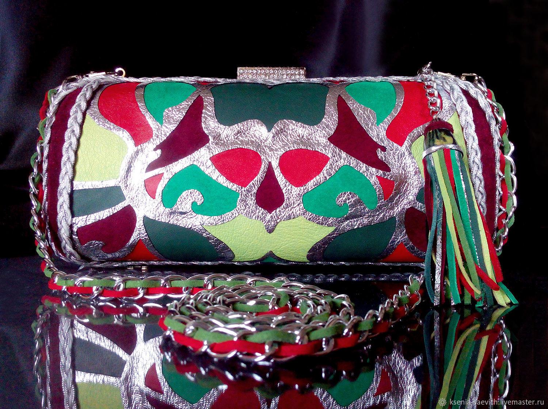 Клатч мозаика из натуральной кожи Джунгли Амазонки, Клатчи, Москва,  Фото №1
