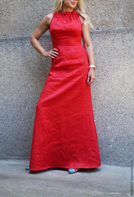 Платья ручной работы. Ярмарка Мастеров - ручная работа. Купить Летнее платье/Красное платье/F1599. Handmade. Ярко-красный, платье на заказ