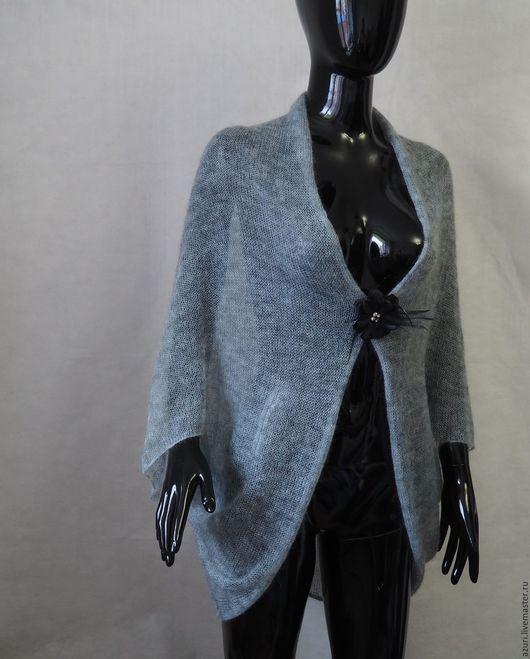 Кофты и свитера ручной работы. Ярмарка Мастеров - ручная работа. Купить Накидка-болеро из кид-мохера, цвет серо-голубой. Handmade.