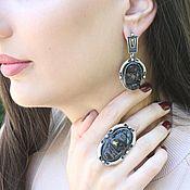 Украшения handmade. Livemaster - original item Jewelry set with raw obsidian made of 925 silver ALS0018. Handmade.