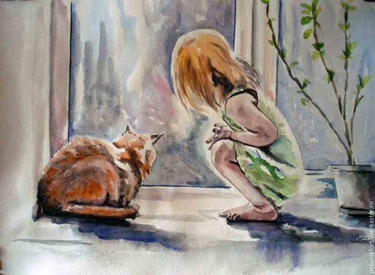 """Люди, ручной работы. Ярмарка Мастеров - ручная работа. Купить Акварельная картина- """"Скоро весна"""" -девочка и кот. Handmade."""