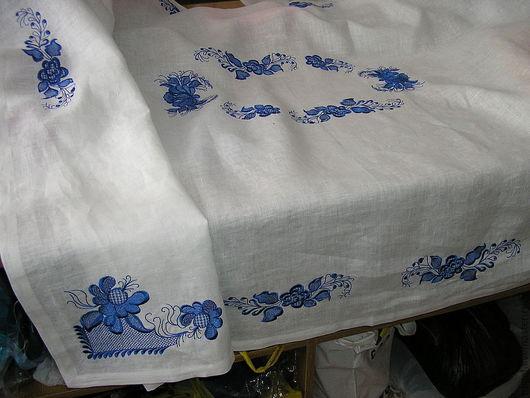 """Текстиль, ковры ручной работы. Ярмарка Мастеров - ручная работа. Купить Скатерть праздничная """"Гжель"""". Handmade. Белый, праздничный стол"""