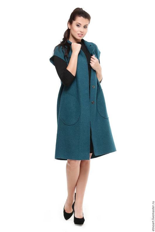 Верхняя одежда ручной работы. Ярмарка Мастеров - ручная работа. Купить Пальто без рукавов из вареной шерсти изумрудное. Handmade.