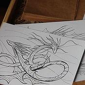 Материалы для творчества ручной работы. Ярмарка Мастеров - ручная работа Драконы. Набор раскрасок-антистресс. Handmade.