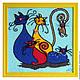 Фантазийные сюжеты ручной работы. Ярмарка Мастеров - ручная работа. Купить Картина вязанная из пряжи Семья кошек 40 х 40 см. Handmade.