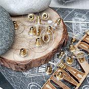 Материалы для творчества handmade. Livemaster - original item Pair of ear Plugs 11.5x6. 3425 mm color gold (). Handmade.